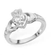 Sterling silver rubover set cubic zirconia claddagh ring